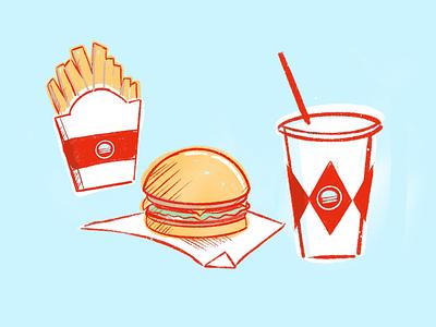 Foody doodles americana fries burger fast food illustration procreate