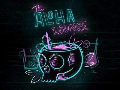 Aloha Lounge bar cocktails procreate texture hawaii skull neon tiki