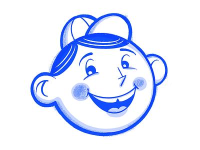 Fun time kid blue texture procreate americana boy kid mascot retro midcentury illustration