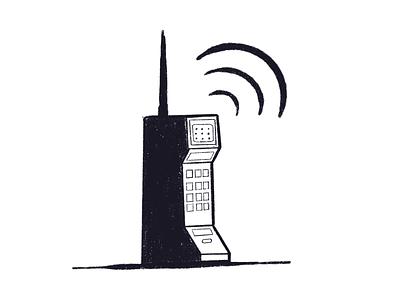 Chunky phone procreate inktober illustration 80s retro phone