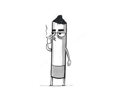 Cigarette guy black and white character design smoking cigarette illustration