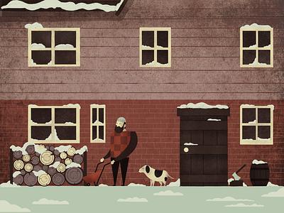 Winter guys procreate texture green beard man wood logs house dog winter snow illustration