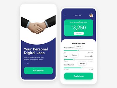 Personal Digital Loan ui app app design mortgage calculator loan calculator loan application loan app loans loan transaction payment finance bank emi 004 dailyui 004 dailyui004 dailyui daily