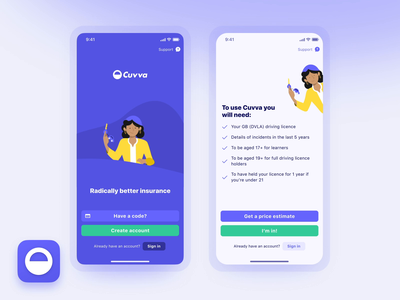 Welcome screen cuvva blue light animation illustration mobile uiux ui sign up sign in welcome screen welcome