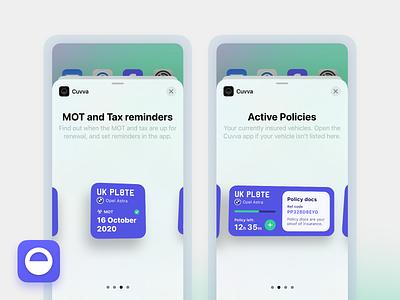 Cuvva widget polic docs tax mot active policy policy active cuvva car insurance insurance app insurance mobile widgets ios14 widget
