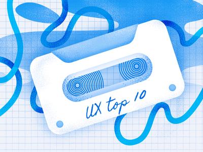 UX Podcasts blog post cover blog blog post mixtape ux podcast podcast ux illustration blue