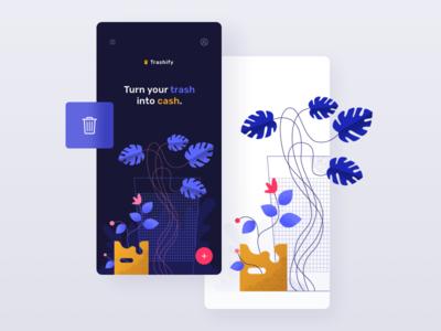 Trashify app - illustration eco ecology segregation trash home screen vector concept illustration mobile app