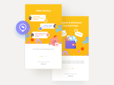 Wishu app: onboarding tutorial onboarding mobile ios app yellow illustrations filter search map university offers wishes categories