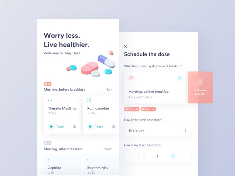 Medicine & Pill Reminder medicine pill reminder app concept healthcare health schedule alarm patient 10clouds mobile