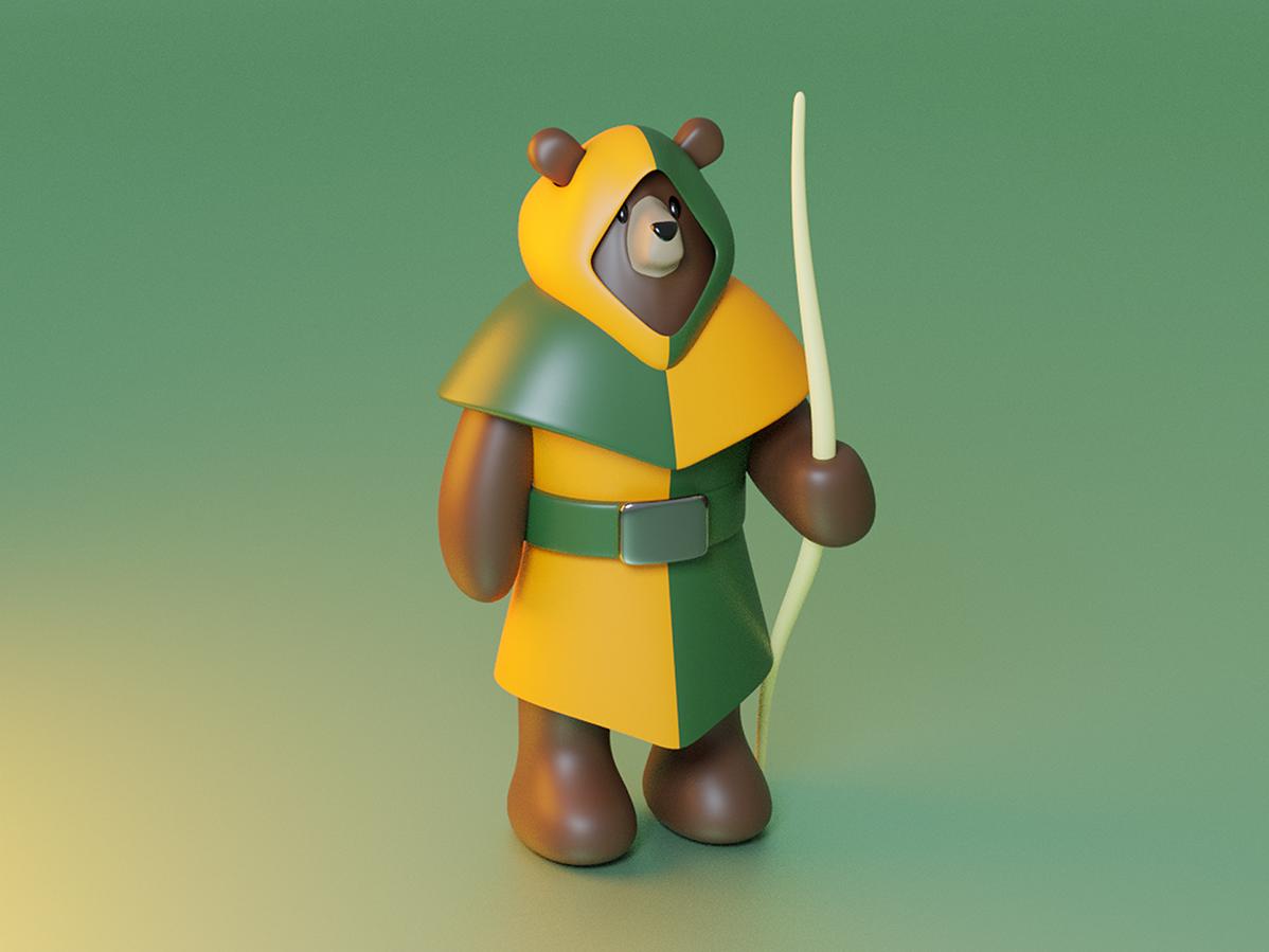 Archer Bear blender character bear archer