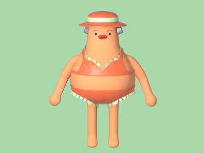 Character Design Pool Party Panic 3d maya game design character