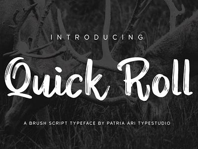 Quick Roll camping outdoor adventure typography branding brush typeface display script handwritten type font