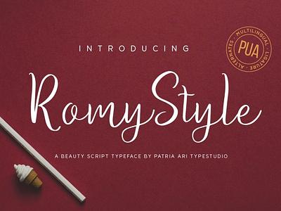 Romy Style signature business display branding typeface elegant handwritten typography script type font