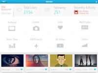 Vimeo iPad App Design (Concept Work) Logged page