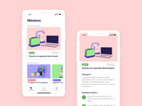 Pickle · Missions app screens