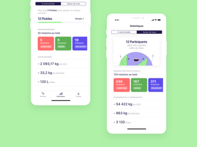 Pickle · Stats app screens