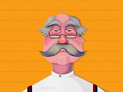 Chef old school old chef hair eyebrows mustage old man kitchen chef illustration