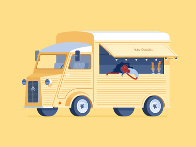 Ice Cream Truck beautiful yellow transport street food food nice citroen ice cream girl truck illustration car