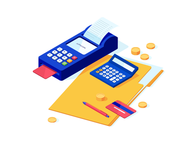 #10 calculate coins isometric documents bookkeeping accounting isomerty illustration