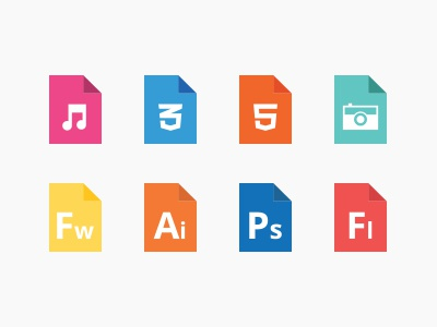 Filetype icons illustrator ui format orange photoshop flat filetype icons minimal clean simple color flash fireworks html5 css3 pictures music files