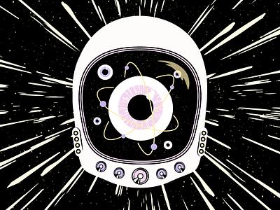 Astro Eyeball Atom speakerbox hyperspace space eyeball atom graphic design astronaut vector art