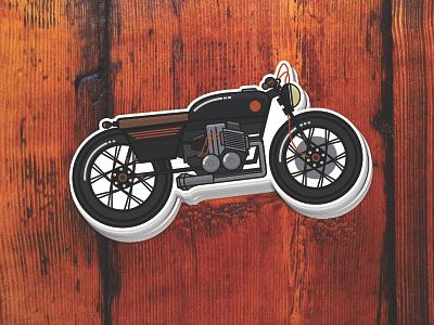 Racer sticker motorcycle illustration stickermule cafe racer sticker