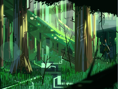 The Green Swamp of Fyr indie game game forest graphic design vector art atone art design illustration