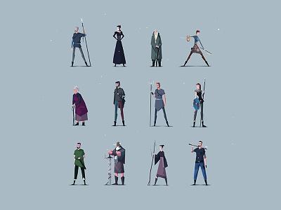 Characters of ATONE concept art graphic design character design vector art vector atone characters blue art design illustration