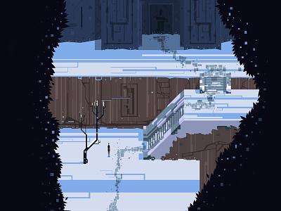 Pathway to the Ice Castle graphic design atone vector art blue art design girl illustration snow
