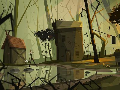 Waking up at a stranger's house concept art graphic design character design vector art vector atone swamp forest art design illustration