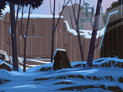 Icy Battle Grounds brown statue trees game design blue snow winter art illustration