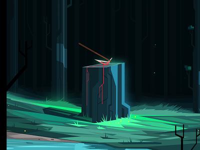 Axe in Stump blood green forest axe illustration