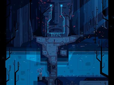 Enter Nastrond vector art fantasy blue vector atone gamedev character forest art design illustration