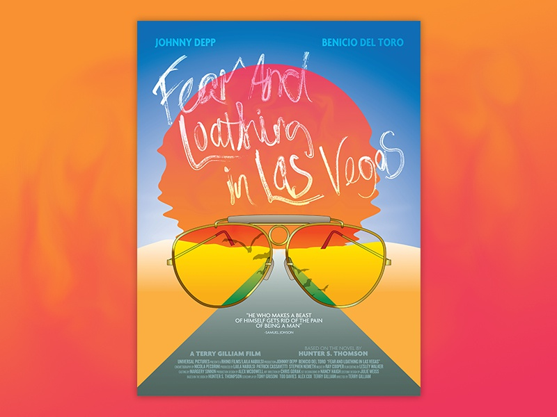 Fear and Loathing in Las Vegas Movie Poster 90s colorful bright redesign poster movie vegas las in loathing and fear