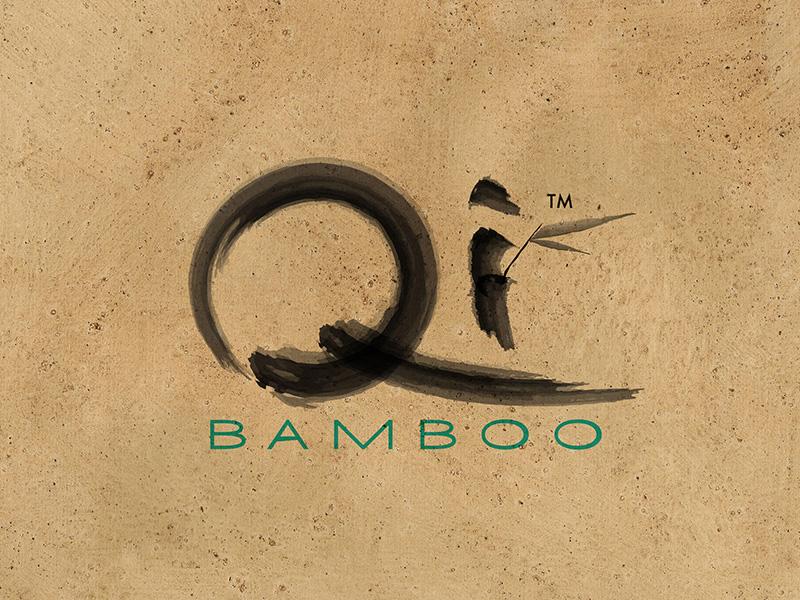 Qi Bamboo Logo organic natural earthtone bamboo identity branding logo