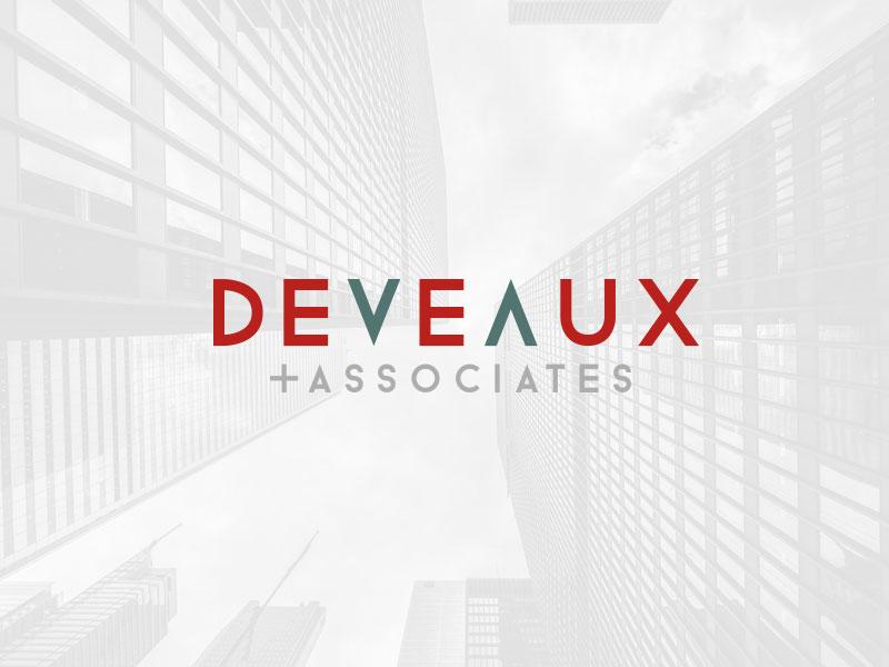 DEVEAUX + ASSOCIATES - Logo real estate commerical design minimalistic gray green red identity logo