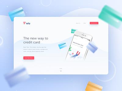 Tally Landing card credit desktop web landing showcase ui tally