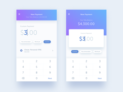 Old Payment Iterations keyboard tally mobile ios gradient account custom balance payment