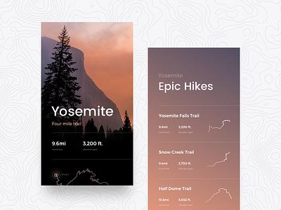 Yosemite Hiking Trails maps trees mountain hike explore travel trail yosemite