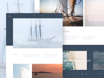Ghost Ships grid artwork offset concept ship pirate sail ux ui landing