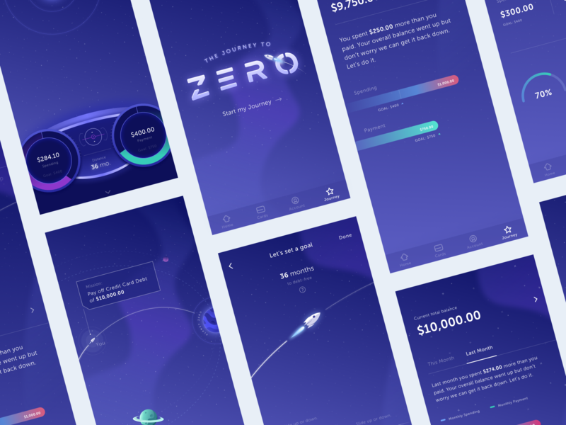 Journey to Zero concept illustration color app tally mobile ios ux ui