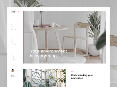 Interior Blog Concept plants environment interior web design concept lander ux ui