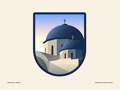 Santorini, Greece vector series travel greece santorini art crest badge illustration