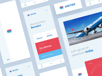 United Rebrand typography branding app logo design united airplane retro design mobile ios identity logo concept ux ui