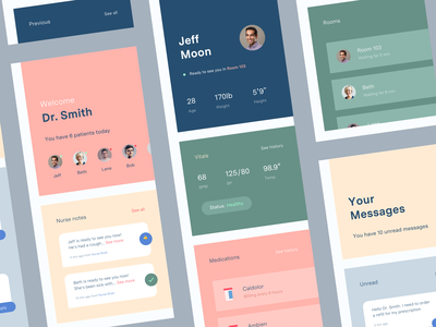 Doctor Concept App medication vitals healthcare patient medical doctor typography color app design mobile ios concept ux ui
