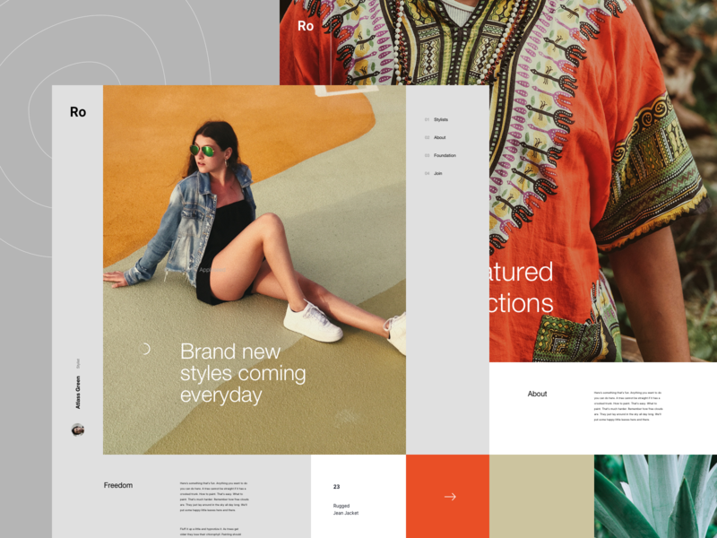 Ro Concept pattern fashion typography branding design lander concept ux ui