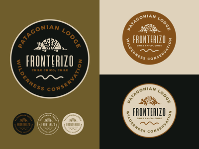 Fronterizo Logo Concept wilderness resort glamping lodge patagonia chile southamerica armadillo animal reserve conservation wildlife identity branding brand identity idenity brand design branding logo design logo
