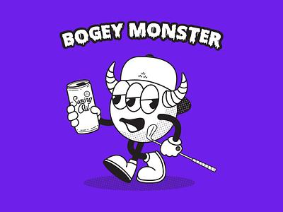 Beware the Bogey Monster halloween cross eyed drunk drinking swinging swinger swingjuice swingoil swing beer horns monster golfer sauced saucy scary spooky golfing golf cartoon