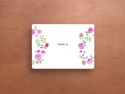 Love u. flowers love be mine watercolor valentines day valentine