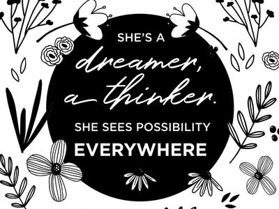She's a Dreamer illustration garden dreamer botanical hygge floral